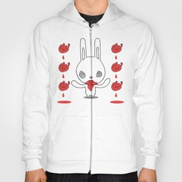 Heart Conjuring Bunny Rabbit - funny cartoon drawing with blood and magic! Hoody