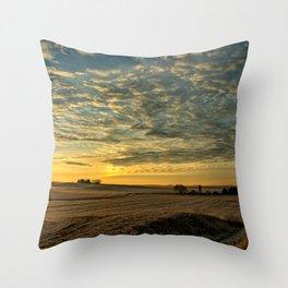 Winter Roads And Sunrises Throw Pillow