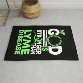 Faith My God Is Stronger Than Lyme Disease Awareness Ribbon Rug