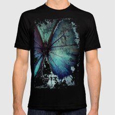 Abstract Butterfly MEDIUM Black Mens Fitted Tee
