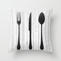 eat Throw Pillows featuring Eat by Vintage Fox