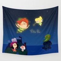 peter pan Wall Tapestries featuring Peter Pan by UniverseSunny