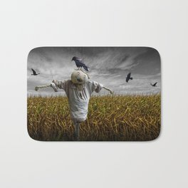Scarecrow with Black Crows over a Cornfield Bath Mat