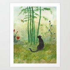Black Cat in the Bamboo Art Print