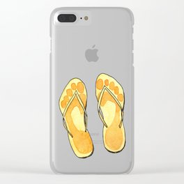 Happy flip flops summer vibes Clear iPhone Case