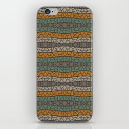 Mosaic Wavy Stripes in Olive, Terracotta, Taupe and Brown iPhone Skin
