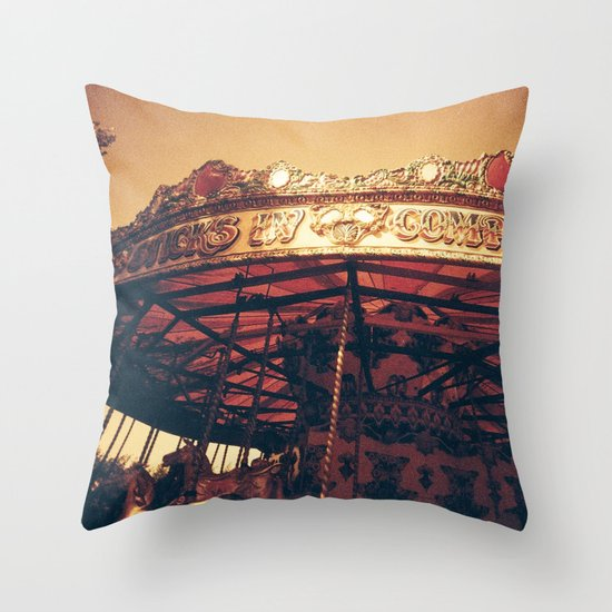 Redscale Carousel Throw Pillow