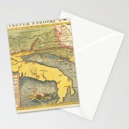 Vintage Map Print - 1545 Ptolemy's 5th European Map by Sebastian Munster Stationery Cards