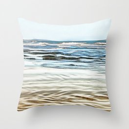 Abstract waves on the beach Throw Pillow