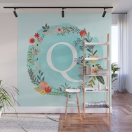 Personalized Monogram Initial Letter Q Blue Watercolor Flower Wreath Artwork Wall Mural