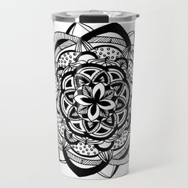 Blossoming black mandala on white (1) Travel Mug