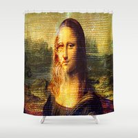 da vinci Shower Curtains featuring The Da Vinci Code by  Agostino Lo Coco