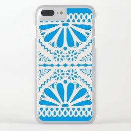 Fiesta de Flores in Party Blue Clear iPhone Case
