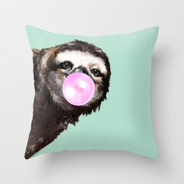 Bubble Gum Sneaky Sloth in Green Throw Pillow