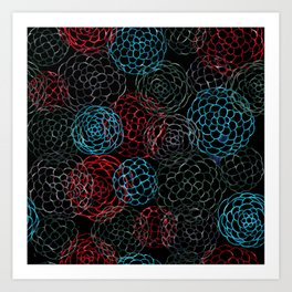 Seamless Patern Painting [RED | BLUE] Art Print