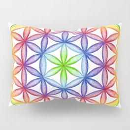 Rainbow Flower of Life - Rainbow Tribe Collection Pillow Sham