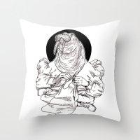 walrus Throw Pillows featuring Walrus by Hopler Art
