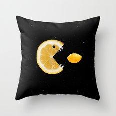 Funny Lemon Eats lemon Throw Pillow