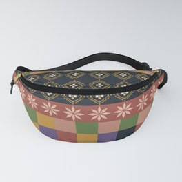flowers and squares ethnic patchwork Fanny Pack