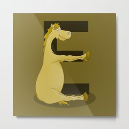 Pony Monogram Letter E Metal Print