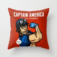 steve rogers Throw Pillows featuring Steve Rogers, The Fist Avenger by Randy Meeks