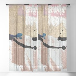 01014: pink, gold, and white abstract Sheer Curtain