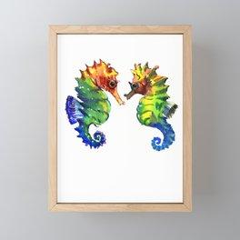 Seahorses, two animals rainbow colored art Framed Mini Art Print