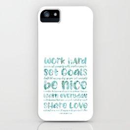 work hard share love iPhone Case