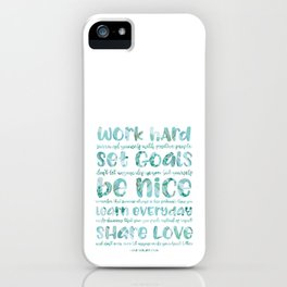 work hard share love iPhone Case