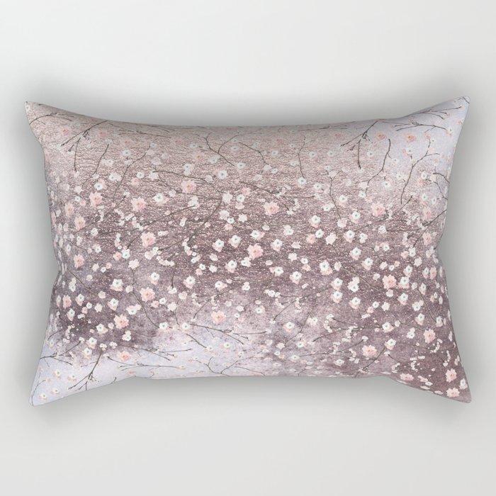 Shiny Spring Flowers - Pink Cherry Blossom Pattern Rectangular Pillow