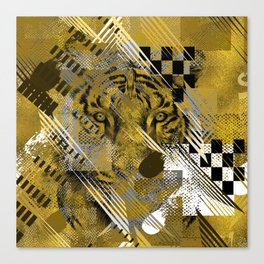 Tiger in gold Abstract Digital art Canvas Print