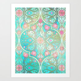 Floral Moroccan in Spring Pastels - Aqua, Pink, Mint & Peach Art Print