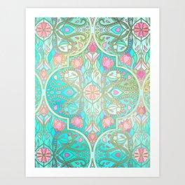 Floral Moroccan in Spring Pastels - Aqua, Pink, Mint & Peach Kunstdrucke