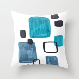 Mid Century Modern Abstract Minimalist Art Colorful Shapes Vintage Retro Style Turquoise Blue Grey Throw Pillow