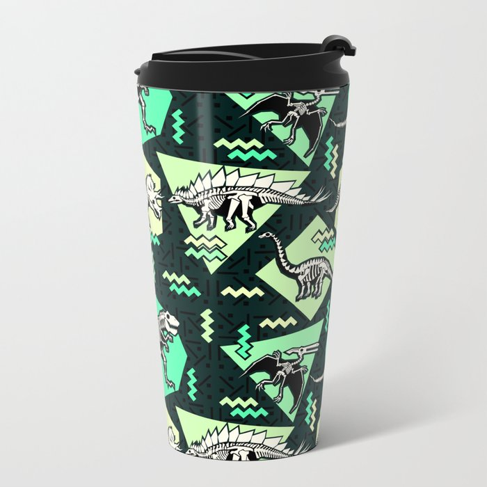 90's Dinosaur Skeleton Neon Pattern Metal Travel Mug