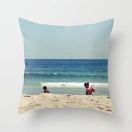 Girls And Waves Throw Pillow