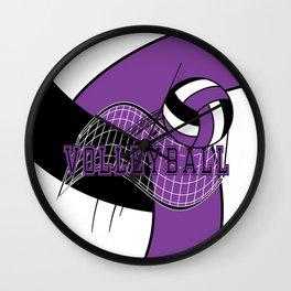Volleyball Sport Game - Net - Purple Wall Clock