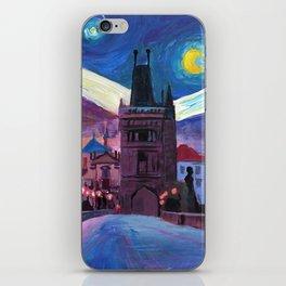Starry Night in Prague - Van Gogh Inspirations on Charles Bridge iPhone Skin