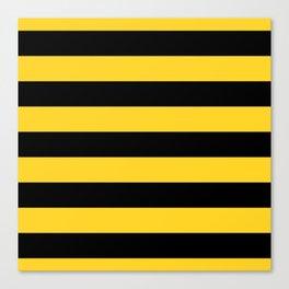 Yellow and Black Honey Bee Horizontal Cabana Tent Stripes Canvas Print