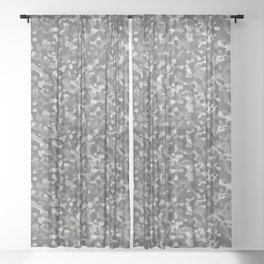 Gray Army Camouflage Sheer Curtain