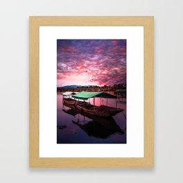 Sunset Boat Water (Color) Framed Art Print