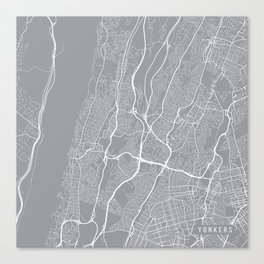 Yonkers Map, New York USA - Pewter Canvas Print