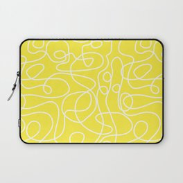 Doodle Line Art | White Lines on Bright Yellow Laptop Sleeve