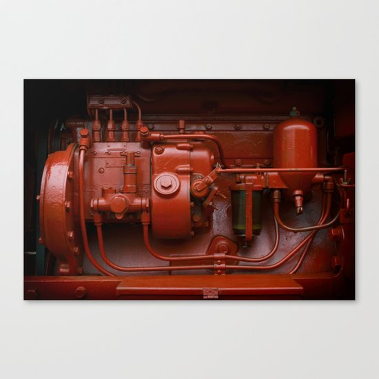Red Tractor motor Canvas Print