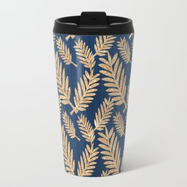 Modern navy blue faux gold glitter tropical floral Travel Mug