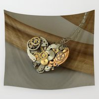 jewish Wall Tapestries featuring Steampunk Heart of Gold and Silver by Brown Eyed Lady