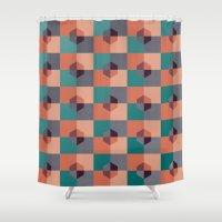 hexagon Shower Curtains featuring Hexagon Pattern by Negin Khatoun