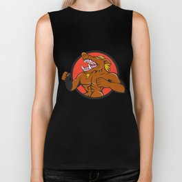 Wild Boar Man Roaring Pumping Chest Circle Cartoon Biker Tank