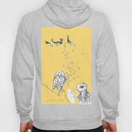 Two Tailed Duck and Jellyfish Pale Yellow Mellow Hoody