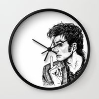 "david tennant Wall Clocks featuring The Doctor - David Tennant - ""Fingers on Lips!"" by ieIndigoEast"